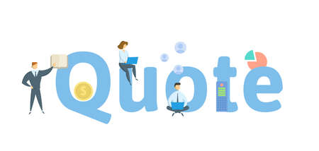 Quote. Concept with keywords, people and icons. Flat vector illustration. Isolated on white background.  イラスト・ベクター素材