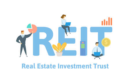 REIT, Real Estate Investment Trust. Concept with keywords, people and icons. Flat vector illustration. Isolated on white background.