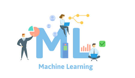 ML, Machine Learning. Concept with keywords, people and icons. Flat vector illustration. Isolated on white background.  イラスト・ベクター素材