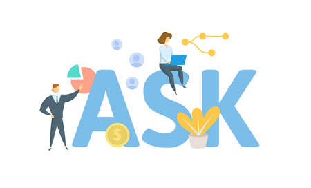 ASK, Amplitude Shift Keying. Concept with keyword, people and icons. Ilustrace