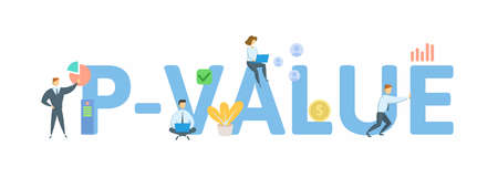 P-value. Concept with keywords, people and icons. Flat vector illustration. Isolated on white background. Ilustração