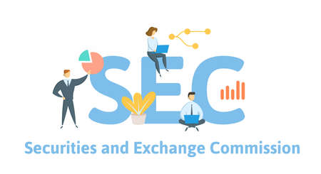SEC, Securities and Exchange Commission. Concept with keywords, people and icons. Flat vector illustration. Isolated on white background. Illustration