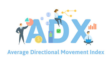 ADX, Average Directional movement Index. Concept with keywords, people and icons. Flat vector illustration. Isolated on white background. Illusztráció
