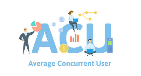 ACU, Average Concurrent User. Concept with keywords, people and icons. Flat vector illustration. Isolated on white background.