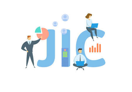 JIC, Just in Case. Concept with keyword, people and icons. Flat vector illustration. Isolated on white background.