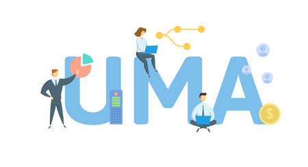 UMA, Unified Managed Account. Concept with keyword, people and icons. Flat vector illustration. Isolated on white background.