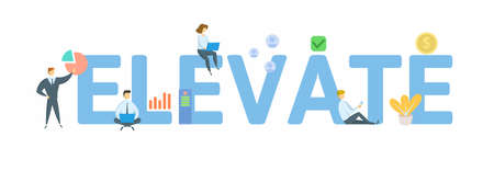 Elevate. Concept with keyword, people and icons. Flat vector illustration. Isolated on white background.