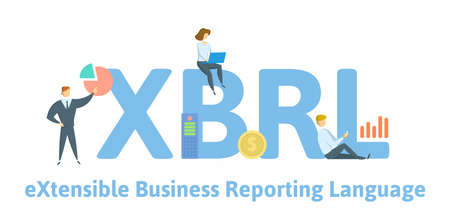 XBRL, eXtensible Business Reporting Language. Concept with keywords, people and icons. Flat vector illustration. Isolated on white background.