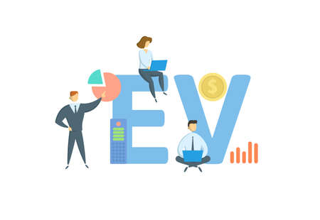 EV, Enterprise Value. Concept with keyword, people and icons. Flat vector illustration. Isolated on white background.