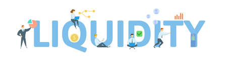 Liquidity. Concept with keyword, people and icons. Flat vector illustration. Isolated on white background.