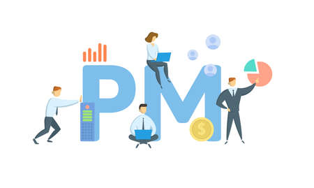 PM, Project Management. Concept with keywords, people and icons. Flat vector illustration. Isolated on white background.