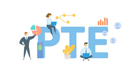 PTE, Pass-Through Entity. Concept with keywords, people and icons. Flat vector illustration. Isolated on white background.