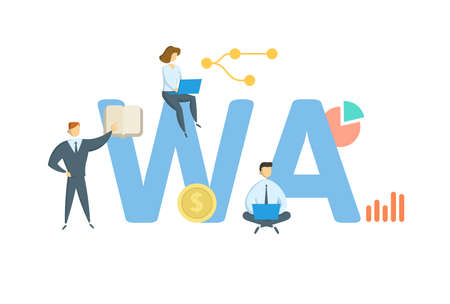 WA, With Average. Concept with keywords, people and icons. Flat vector illustration. Isolated on white background. Illusztráció