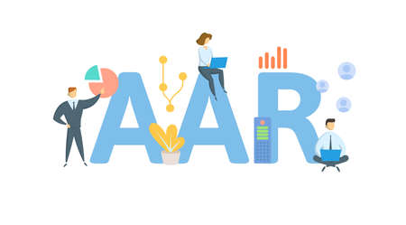 AAR, Average Annual Return. Concept with keywords, people and icons. Flat vector illustration. Isolated on white background.