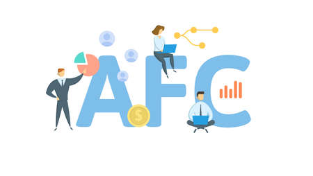 AFC, Average Fixed Costs. Concept with keywords, people and icons. Flat vector illustration. Isolated on white background.