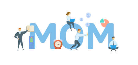 MOM, Minute of Meeting. Concept with keywords, people and icons. Flat vector illustration. Isolated on white background.