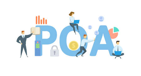 POA, Power of Attorney. Concept with keywords, people and icons. Flat vector illustration. Isolated on white background.