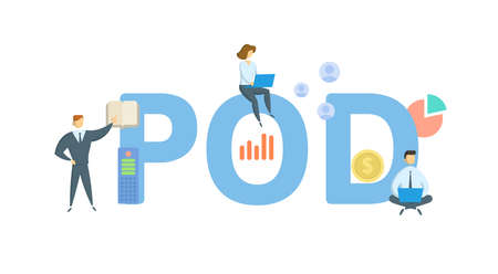 POD, Proof Of Delivery. Concept with keywords, people and icons. Flat vector illustration. Isolated on white background.