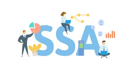 SSA, Social Security Administration. Concept with keywords, people and icons. Flat vector illustration. Isolated on white background. 向量圖像