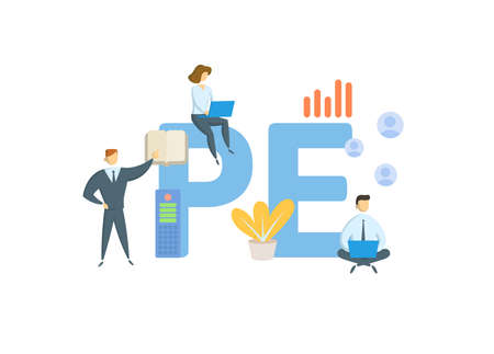 PE, Private Equity. Concept with keywords, people and icons. Flat vector illustration. Isolated on white background. 向量圖像
