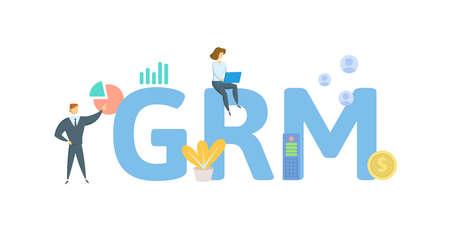 GRM, Gross Rent Multiplier. Concept with keywords, people and icons. Flat vector illustration. Isolated on white background.