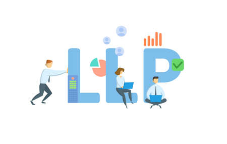 LLP, Limited Liability Partnership. Concept with keywords, people and icons. Flat vector illustration. Isolated on white background. 向量圖像