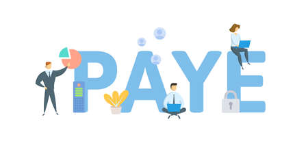 PAYE, Pay As You Earn. Concept with keywords, people and icons. Flat vector illustration. Isolated on white background. 向量圖像