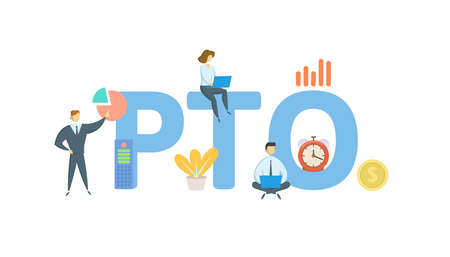 PTO, Paid Time Off. Concept with keywords, people and icons. Flat vector illustration. Isolated on white background. Ilustración de vector