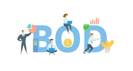BOD, Board of Directors. Concept with keywords, people and icons. Flat vector illustration. Isolated on white background.