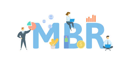 MBR, Monthly Business Review. Concept with keywords, people and icons. Flat vector illustration. Isolated on white background. 向量圖像