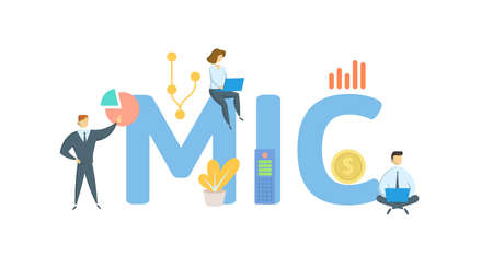 MIC, Market Identifier Code. Concept with keywords, people and icons. Flat vector illustration. Isolated on white background.