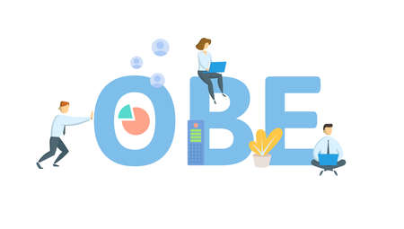 OBE, Overcome By Events. Concept with keywords, people and icons. Flat vector illustration. Isolated on white background. 向量圖像