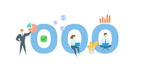 OOO, Out Of Office. Concept with keywords, people and icons. Flat vector illustration. Isolated on white background.