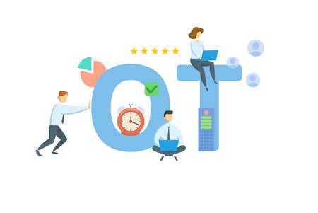 OT, Overtime. Concept with keywords, people and icons. Flat vector illustration. Isolated on white background. 向量圖像