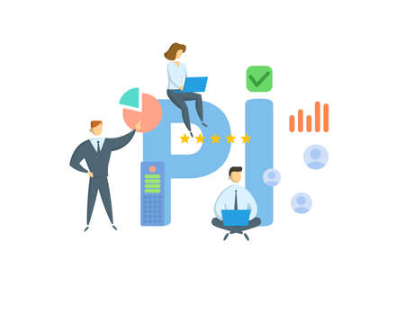 PI, Professional Indemnity. Concept with keywords, people and icons. Flat vector illustration. Isolated on white background.