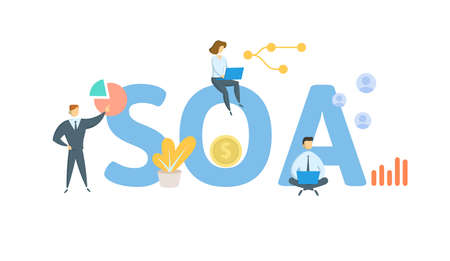SOA, Statement Of Account. Concept with keywords, people and icons. Flat vector illustration. Isolated on white background. 向量圖像