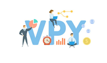 VPY, Versus Prior Year. Concept with keywords, people and icons. Flat vector illustration. Isolated on white background.