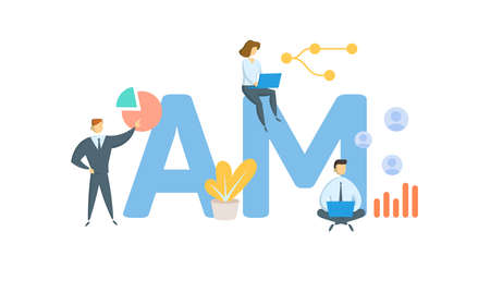 AM, Account Manager. Concept with keywords, people and icons. Flat vector illustration. Isolated on white background.