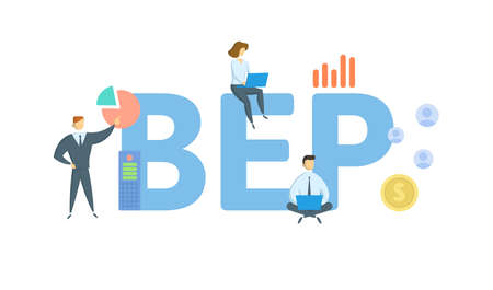 BEP, Break Even Point. Concept with keywords, people and icons. Flat vector illustration. Isolated on white background. 向量圖像