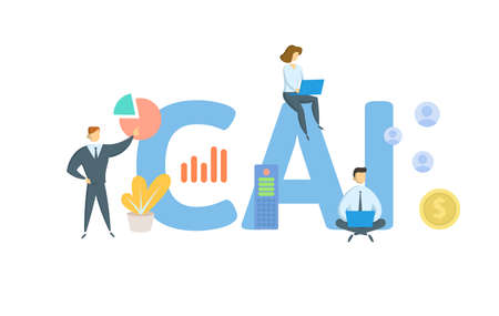 CAI, Computer Assisted Instruction. Concept with keywords, people and icons. Flat vector illustration. Isolated on white background.