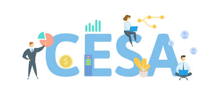 CESA, Coverdell Education Savings Account. Concept with keywords, people and icons. Flat vector illustration. Isolated on white background.