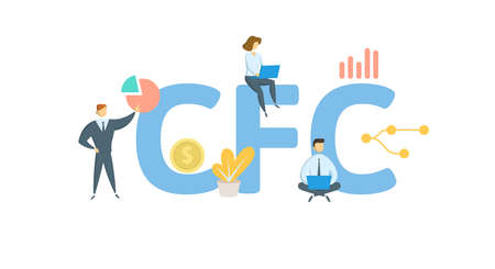 CFC, Court of Federal Claims. Concept with keywords, people and icons. Flat vector illustration. Isolated on white background.