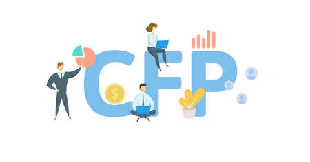 CFP, Certified Financial Planner. Concept with keywords, people and icons. Flat vector illustration. Isolated on white background.