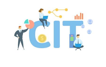 CIT, Corporate Income Tax. Concept with keywords, people and icons. Flat vector illustration. Isolated on white background.