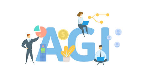 AGI, Adjusted Gross Income. Concept with keywords, people and icons. Flat vector illustration. Isolated on white background.