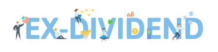 Ex-Dividend. Concept with keyword, people and icons. Flat vector illustration. Isolated on white background.