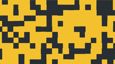 Abstract square pixel background in yellow and black color. Vector illustration.