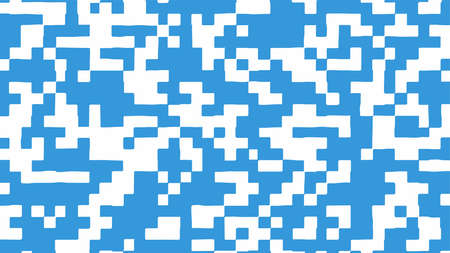 Abstract square pixel background in blue and white color. Vector illustration.