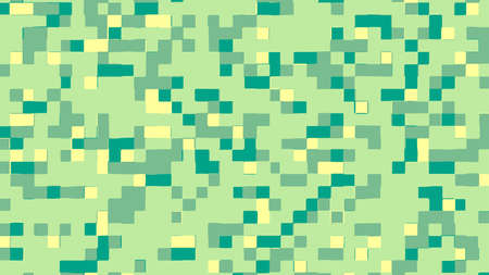 Abstract square pixel background in green and yellow colors. Vector illustration.