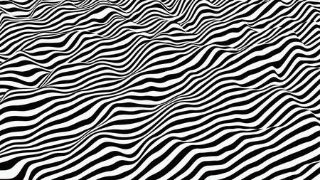 Wavy striped surface. Black and white lines with ripples effect. Vector background.